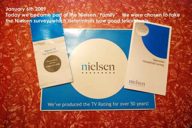 We received a package in the mail the other day.  It included a survey to take, which if ours is picked we will have a recording box of sorts installed on our t.v. to record what we watch.  There will be a lot of the Bad Girls Club and Roseanne on there.