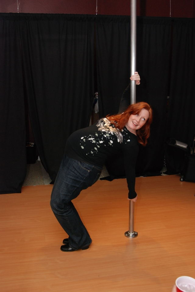 Baby's first pole dance!
