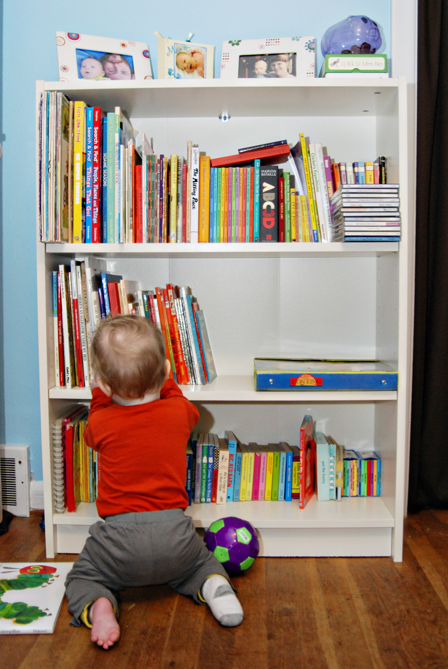 We had to get an actual bookcase (a Billy Bookcase from Ikea) because his  little library was growing quickly. In fact he's inherited my books from  when I ...